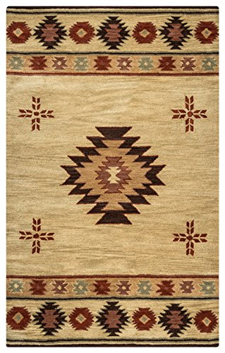 Rizzy Home Southwest Collection SU2007 Handtufted 100% Wool Area Rug 3' x 5' Khaki