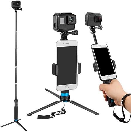 Todo para el streamer: TELESIN 6 en 1 de aleación de aluminio Monopod selfie Stick Handheld extensible tamaño bolsillo monedero con Mini trípode y soporte de trípode y teléfono clip para Apple, GoPro cámara – Negro
