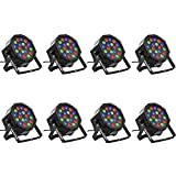 Eyourlife 8PCS 18 X 3W LED Stage Light DJ Par Lights 54W RGB Par 64 DMX512 Uplighting for Dj Stage Lighting Show Disco Party Light