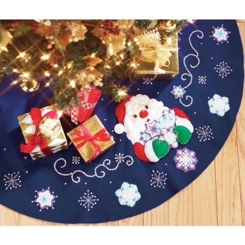 Snowflake Collection Tree Skirt - Janlynn Santa's Snowflake Collection Tree Skirt Felt Applique Kit