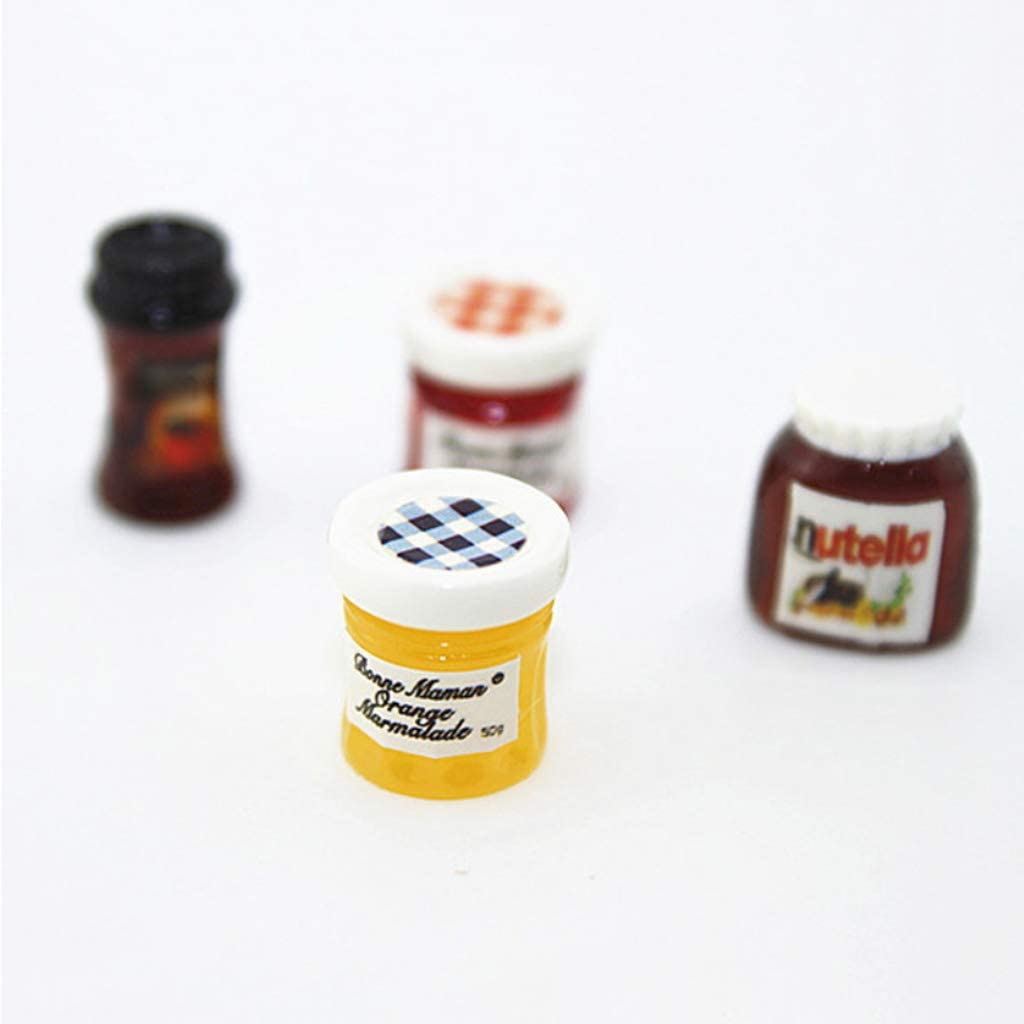 lijun 4 unids//Set Tarro Salsa de Tomate Mermelada Ensalada Mini caf/é Accesorios de Cocina para 1:12 casa de mu/ñecas casa de Cena en Miniatura