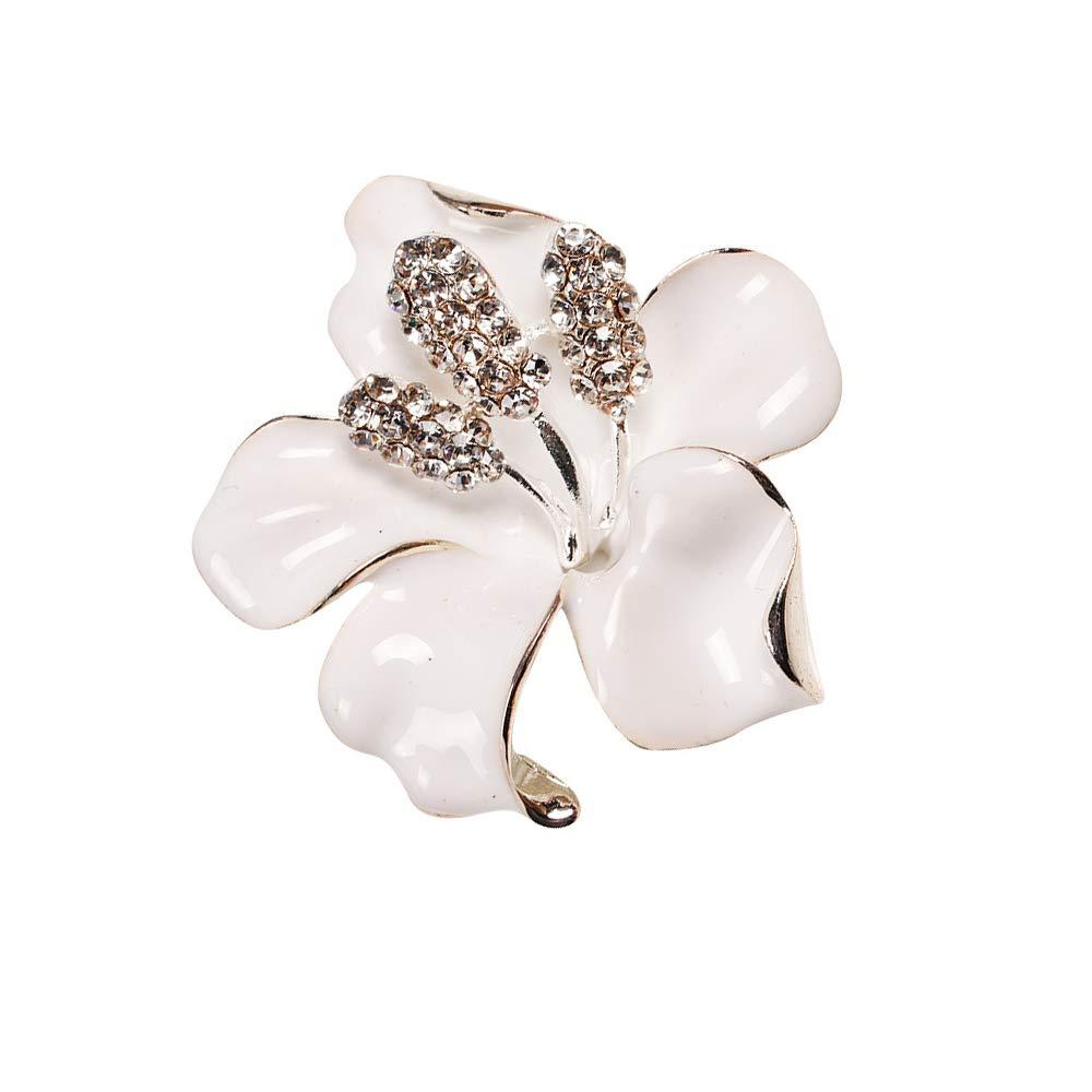 Stockton Broche Epingle de Femme /él/égant lis fleur de forme brillance strass de Bijoux Fantaisie corsage de pin brooch de d/écoration pour v/êtements Cadeau-Blanc