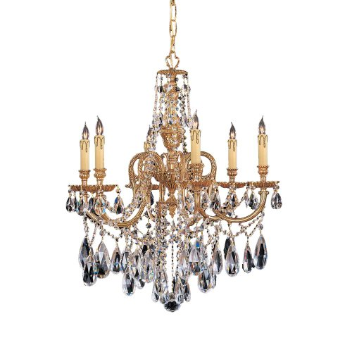 Crystorama 2706-OB-CL-MWP Crystal Accents Six Light Chandelier from Novella collection in Brassfinish,