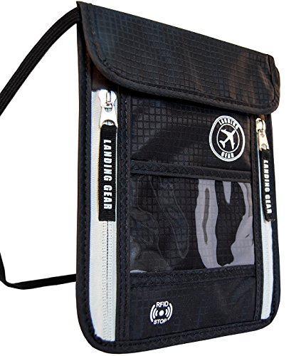 Venture4th Passport Holder Neck Pouch With RFID Blocking The # 1 Travel Wallet (Black)