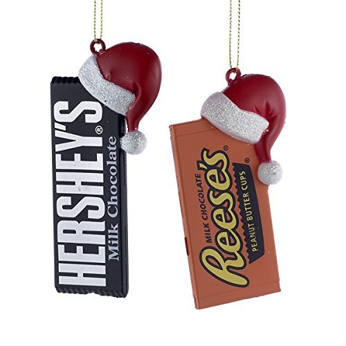 - HERSHEY'STM CANDY BAR WITH SANTA HAT ORNAMENT - 2 ASSORTED: HERSHEY'STM AND REESE'S
