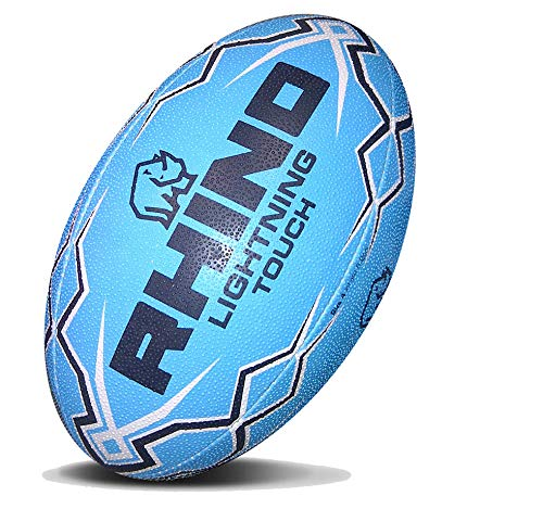 RHINO RUGBY Lightning Touch Rugby Ball (Blue)
