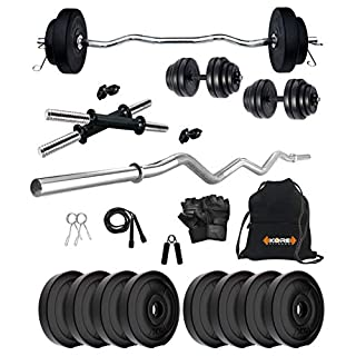 51B7IM37LLL. SS320 Kore PVC 16-30 Kg Home Gym Set with One 3 Ft Curl and One Pair Dumbbell Rods with Gym Accessories