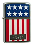 Personalized Zippo American Flag Colored & Chrome Lighter with Free Engraving