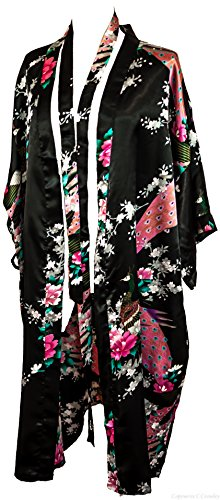 Flower Print Satin - CC Collections Kimono 16 Colours Premium Version Free 1st Class UK Shipping Dressing Gown Robe Lingerie Night wear Dress Bridesmaid Hen Night (Black)
