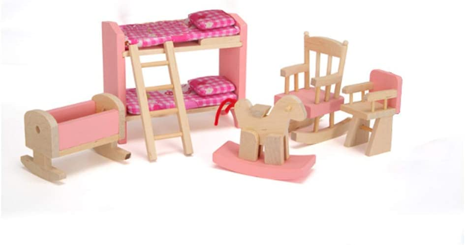 NANSHINE Mini Wooden Doll House Furniture -Bunk Bed, Kids Gifts House Room Miniature Building Blocks Set for Children
