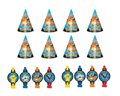 Pokemon Pikachu & friends Party Hats and Blowouts Favor Pack