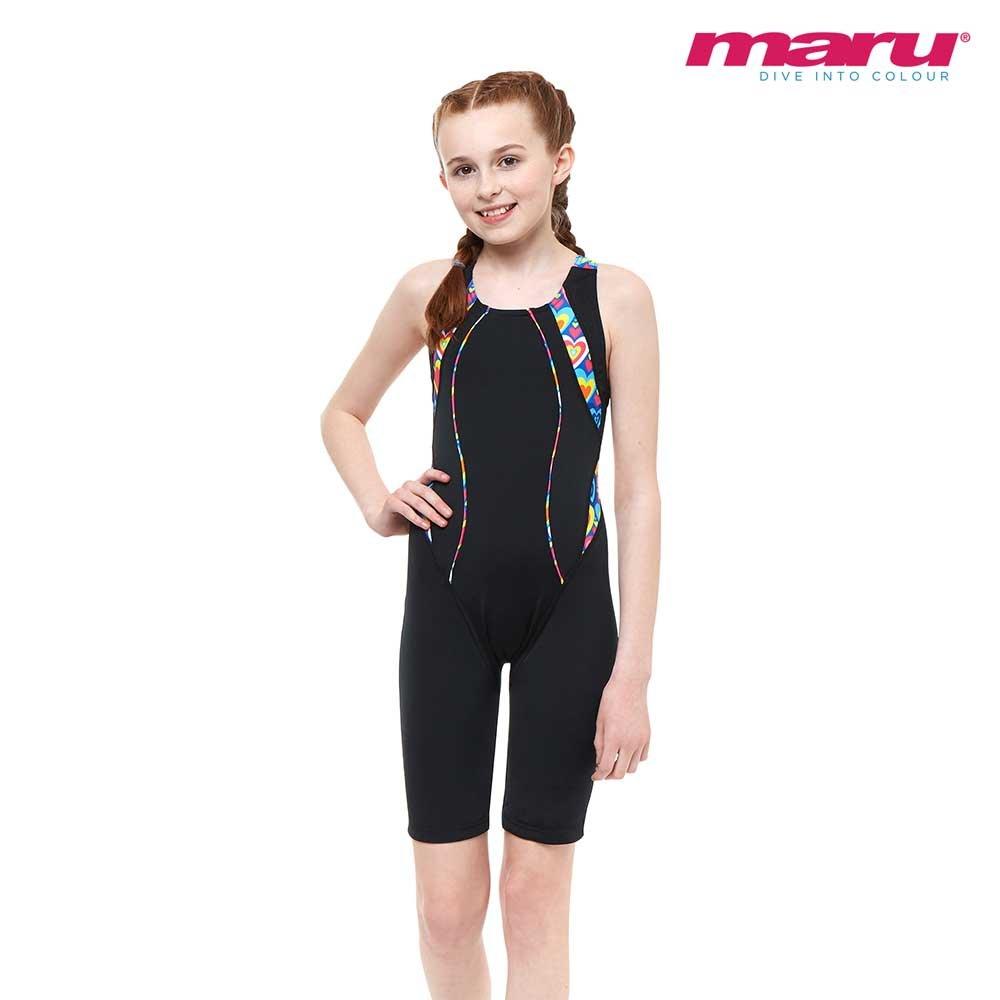 Maru Girls Junior Psychedelic Pacer Legsuit Black Multi UV and Chlorine Resistant Swimsuit