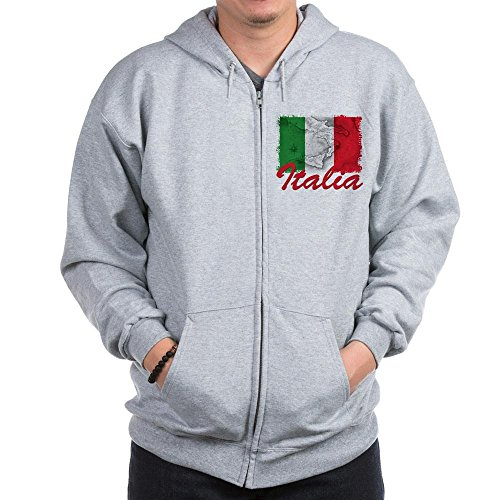 (CafePress Italian Pride Zip Hoodie, Classic Hooded Sweatshirt with Metal Zipper Heather Grey)