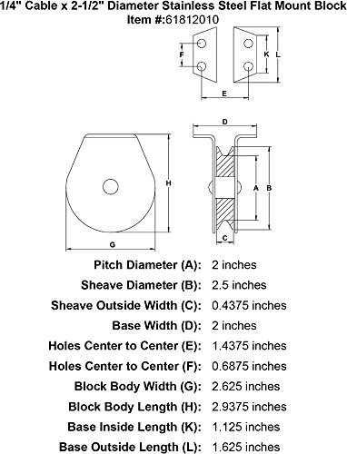 1/4'' Cable x 2-1/2'' Diameter Stainless Steel Flat Mount Block by Block Division (Image #1)