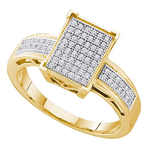 Sonia Jewels Size - 5-10k Yellow Gold Emerald Shape Center Micro Pave Setting Round Cut Diamond Engagement Ring 10mm (1/5 cttw)