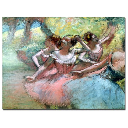 - Four Ballerinas on the Stage by Edgar Degas, 35x47-Inch Canvas Wall Art