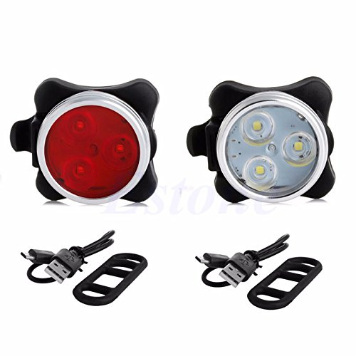 Generic Red : USB Rechargeable Bicycle Cycling 3 LED Head Front Rear Tail Flashing Lamp Light
