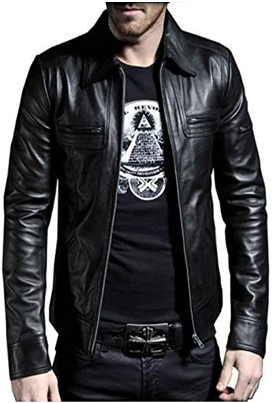 Mens Motorcycle Style Fashion Slim Fit Biker Real Genuine Leather Jacket