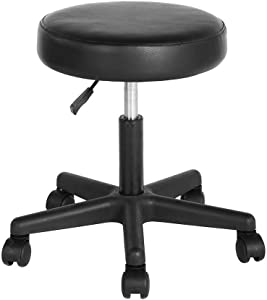 FurnitureR Rolling Stool Swivel Boss Office Chair no Back Adjustable Upholstered Medical Stool for Home Office/Salon/Spa in Black