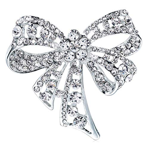 (Sofiar Jewelry Large Bow Ribbon Shape Pave Crystal Wedding Bridal Brooch Pin Silver Tone Rhodium Plated Brass)
