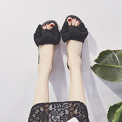 Couleur CN35 Étudiant Femme Taille Mode Pantoufles Extérieure Été Or Sandales UK3 5 EU36 Sandales Black Et Chic Pantoufles Fond Xy® Plat qHpwOA