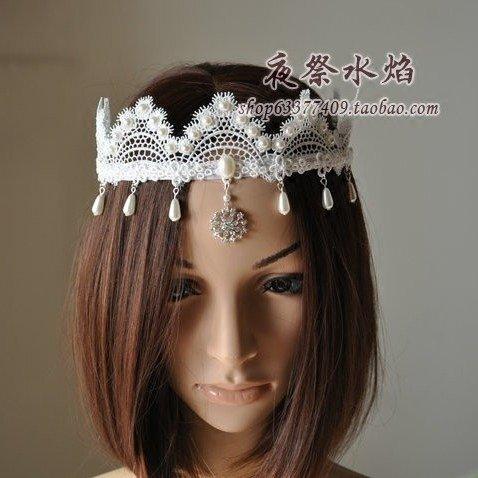 Quantity 1x Custom_'ice'_ifdumping_?_wei_Mei_ luxury Bridal _portrait_ Rhinestone pearl lace hand Crown Tiara Party Wedding Headband Women Bridal Princess Birthday Girl Gift Headband ()