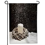"""Leighhome Proud To Be Patriotic Garden Flag Christmas decoration, wreath with candle, artificial snow and falling snow Crab and Star Print Both Sides-12"""" x 18"""""""