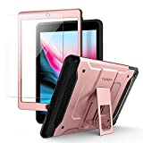 iPad 9.7 Case, iPad 9.7 2017 Case, iPad 9.7 2018 Case, Spigen Tough Armor TECH iPad 9.7 Case with Kickstand and Tempered Glass with SF Coated Non Slip Matte Surface and Extreme Heavy Duty Protection for Apple iPad 9.7 (2017/2018) - Rose Gold