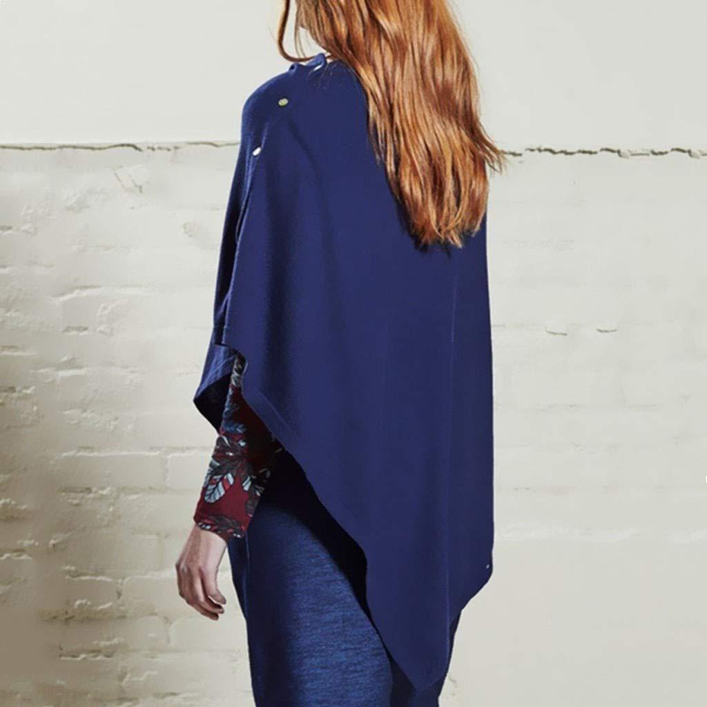 Yvelands Mujeres Abrigos Tops Sólido Botón de Manga Larga Camiseta Irregular Cloak Overcoat Jacket: Amazon.es: Ropa y accesorios