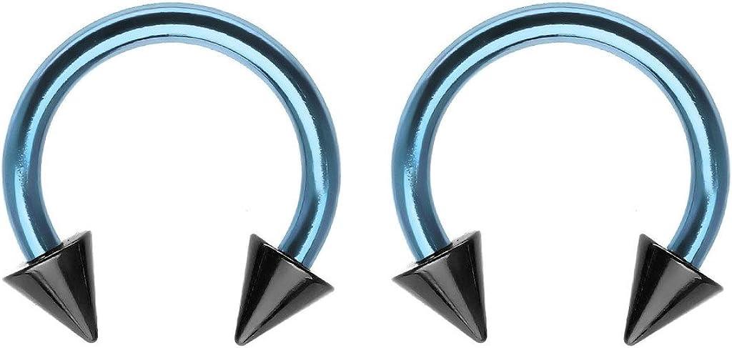 2 Pair of septum cartilage nipple earring hoop belly 18g, 16g, or 14g Custom Green /& Lt Blue Captive bead Ring lip tragus