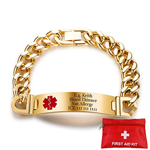 (Murinsar Free Custom Durable Stainless Steel Medical Alert Bracelet for Women Men Disease Allergy Alarm Awareness Curb Chain Bangle with Free First Aid Kit Emergency Life Saver,Gold,8.46'')