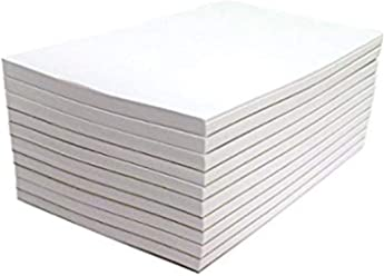 "Blank Note Pads by eThought - Pack of 10 Pads - 50 Sheets per Pad (White with no holes, 3"" wide x 5"" tall)"