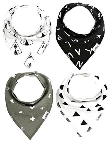 Matimati Baby Bandana Drool Bibs with Snaps for Boys & Girls | 4-Pack Unisex Baby Gift (Monochrome-Set)