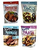 Frontera Gourmet Mexican Simmer Marinade Sauce Pouch 4 Flavor Variety Bundle, 1 each: Red Chile Barbacoa, Classic Fajitas, Chipotle Garlic Taco, Carne Asada (6-8 Ounces)