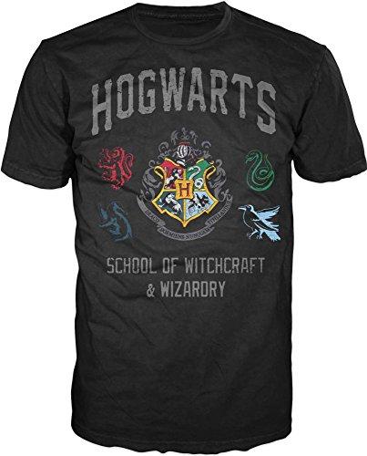 HARRY POTTER Updated Hogwarts Crest Mens Tee (Medium) Black (Harry Potter Spells Lightning Bolt T Shirt)