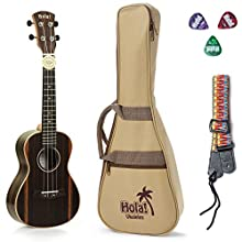 Concert Ukulele Deluxe Series by Hola! Music (Model HM-124EB+), Bundle Includes: 24 Inch Ebony Ukulele with Aquila Nylgut Strings Installed, Padded Gig Bag, Strap and Picks - Limited Edition
