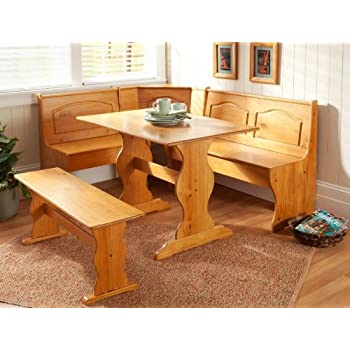 Essential Home Emily Breakfast Nook Kitchen Solid Wood Corner Dining Set Table Bench Chair