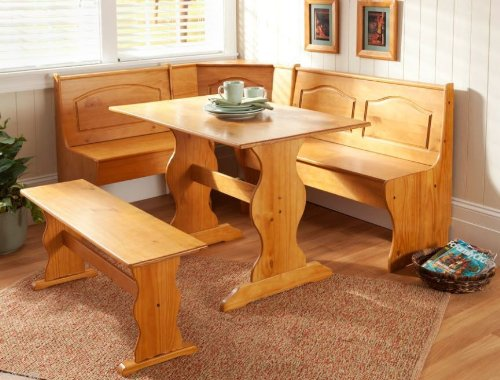 Essential Home Emily Breakfast Nook Kitchen Nook Solid Wood Corner Dining Breakfast Set Table Bench Chair Booth (Table Furniture Breakfast)