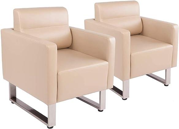 Koreyosh Modern PU Leather Club Collection Occasional Chair Home Arm Chair Sofa Seat Furniture w/Cushion Beige
