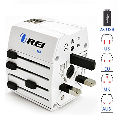 Travel Adapter, OREI Worldwide All in One Universal Power Converters Wall AC Power Plug Adapter Power Plug Wall Charger with Dual USB Charging Ports for USA EU UK AUS Cell phone Laptop