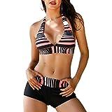 Century Star Two Piece Swimwear Athletic Push up Criss Cross Halter Bikini with Boyshort Swimsuits for Women