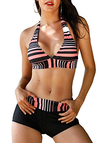 Century Star Two Piece Swimwear Athletic Push up Criss Cross Halter Bikini with Boyshort Swimsuits for Women Pink Black Stripe XL(US 10-12) (Pink Stripe Sexy)