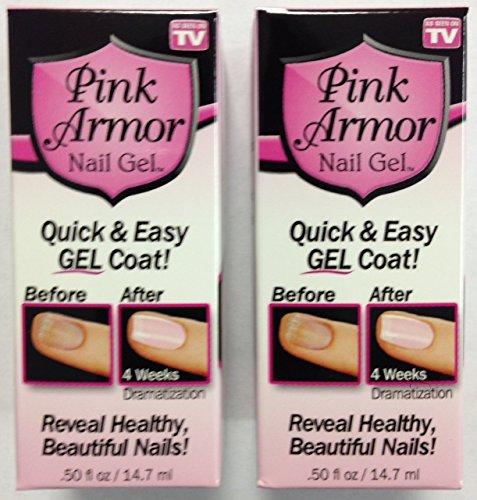 Set of 2 Pink Armor Nail Growth Formula Treatments, 0.45 Fluid Ounce