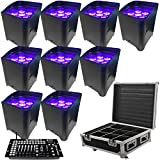 LED Battery Powered Wireless DMX - 16 Hour - 9 Lights w/Case - 9x6W RGBAW+UV - w/ Easy Controller - Wedding Up Lights