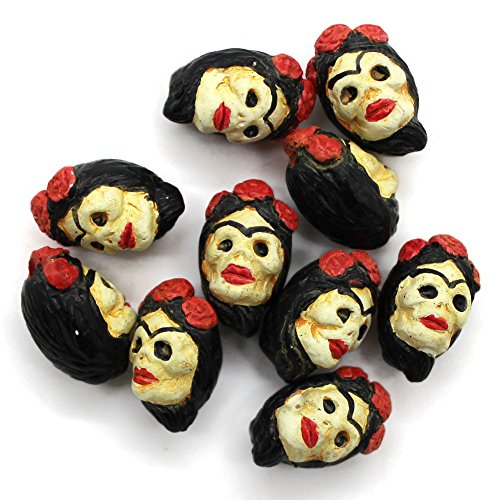 Day Of The Dead Beads - 10 - Small - Frida Kahlo - Day of Dead - Sugar Skull - Halloween Beads - Novelty Beads - Ceramic Peruvian Beads