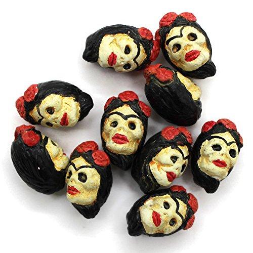 10 - Small - Frida Kahlo - Day of Dead - Sugar Skull - Halloween Beads - Novelty Beads - Ceramic Peruvian Beads