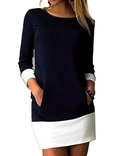 Joeoy Women's Colorblock 3/4 Sleeve Crew Neck Shift Dress