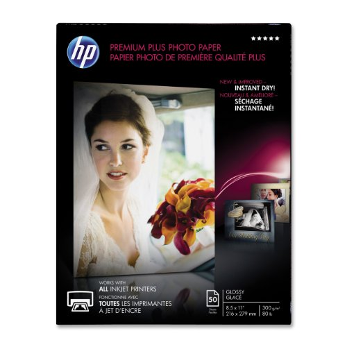 - HP Premium Plus Photo Paper, Glossy, A, 50 Sheets (CR664A), White