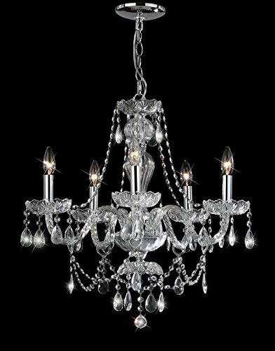 Elegant Strands Of Prismatic Beads - 5 Light Crystal (Diamond Square Strand)