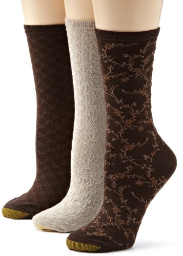 Gold Toe Women's 3-Pack Floral Diamonds and Leaf Patterned Socks, Chocolate/Driftwood, Shoe Size: 6-9